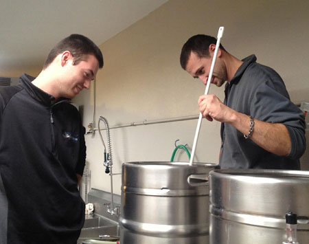 Brewmasters Mark McCrehin and Christopher Bacchus.